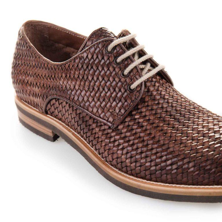 brown hand woven derby
