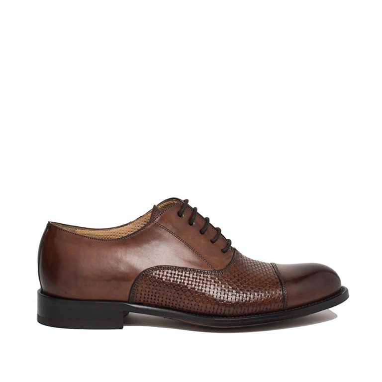 brown smooth and woven calfskin oxford