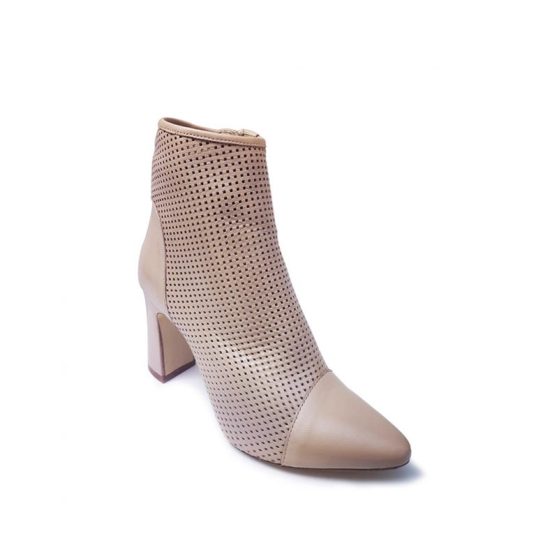 perforated calfskin ankle boots