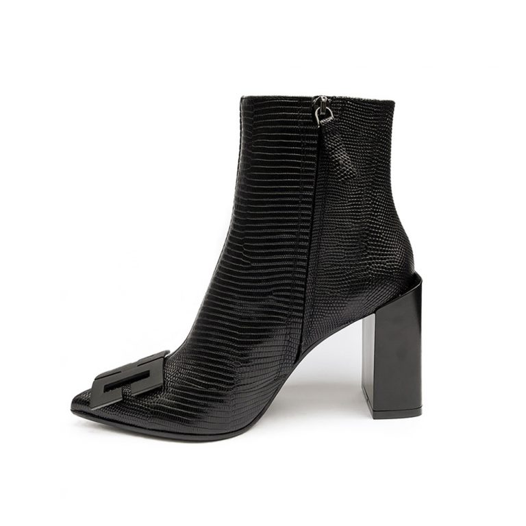 lizard embossed ankle boots