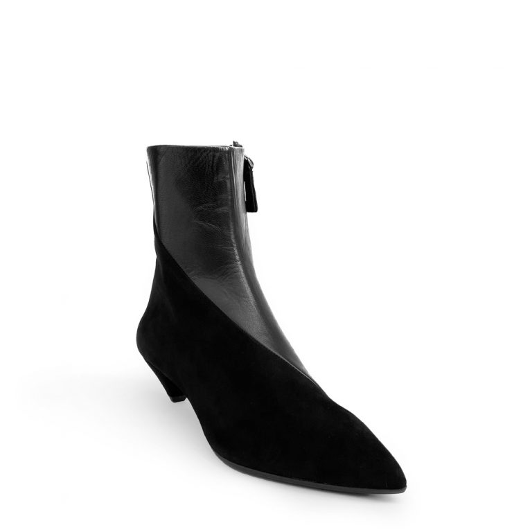 suede and calfskin zip ankle boots