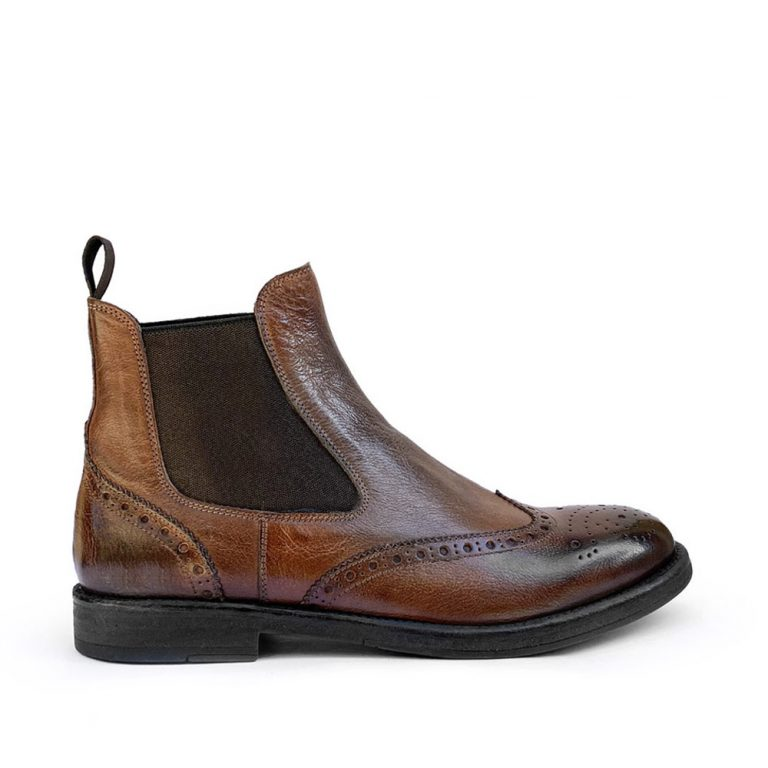 sponged brogue ankle boots