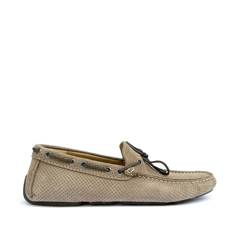perforated suede loafers