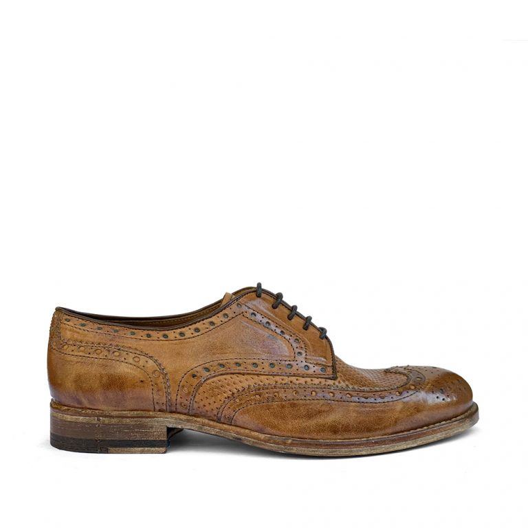 washed calfskin derby brogues